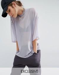 Прямая сетчатая футболка Bones - Серо-сиреневый