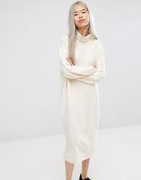 Свободное трикотажное платье Monki - Кремовый