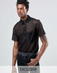 Кружевная рубашка классического кроя Reclaimed Vintage - Черный