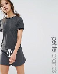 Университетская футболка с карманом Boohoo Petite - Slate