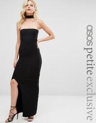 Платье-бандо макси с горловиной‑чокер ASOS PETITE - Черный