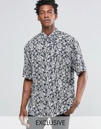 Свободная рубашка с кружевным принтом Reclaimed Vintage - Темно-синий