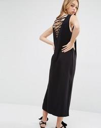 Платье-футляр миди с перекрестом на спине Weekday - Черный