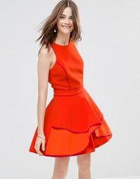 Короткое приталенное платье со вставкой Adelyn Rae - Оранжевый