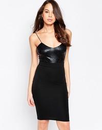 Платье миди на бретельках с блестящим лифом AX Paris - Черный