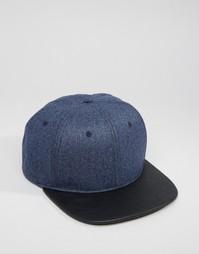 Бейсболка из мельтона с контрастной отделкой ASOS - Темно-синий