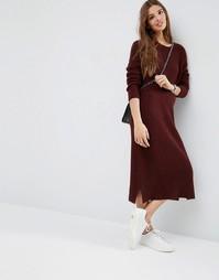 Шерстяное платье-джемпер миди ASOS - Ягодный