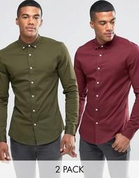 ASOS 2 Pack Skinny Twill Shirt In Burgundy And Khaki SAVE 15%