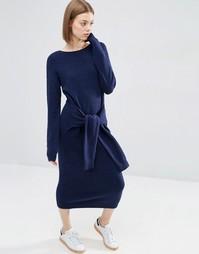 Платье-джемпер с завязками ASOS - Темно-синий