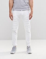 Белые джинсы скинни с заплатками и напылением Loyalty & Faith - Белый