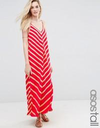 Платье макси в шевронную полоску ASOS TALL - Красный