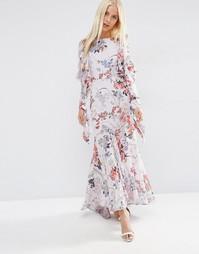 Серое платье макси с цветочным принтом ASOS - Мульти