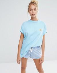 Oversize-футболка бойфренда с вышивкой морской свинки Lazy Oaf - Синий