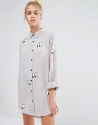 Oversize-рубашка с принтом глаз Lazy Oaf - Серый