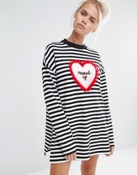 Трикотажный топ в полоску с сердечком и разрезами по бокам Lazy Oaf