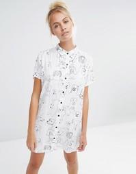 Oversize-рубашка с принтом собаки Lazy Oaf - Белый