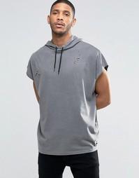 Свободная футболка из плотного трикотажа ASOS - Выбеленный черный
