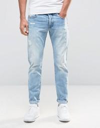 Светлые узкие джинсы с потертостями G-Star 3301 90