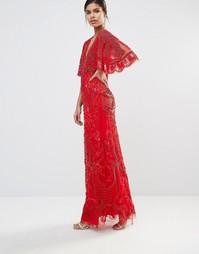 Декорированное платье макси с рукавами-кимоно A Star Is Born - Красный