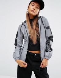 Серебристая светоотражающая куртка на молнии с капюшоном и логотипом н Fila