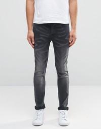 Серые выбеленные джинсы слим Only & Sons - Темно-серый
