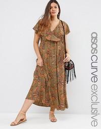 Платье макси с цветочным принтом пейсли ASOS CURVE - Мульти