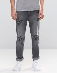 Суженные книзу черные выбеленные джинсы с прорехами Kubban - Черный