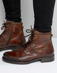 Коричневые кожаные ботинки на шнуровке Aldo Giannola - Рыжий