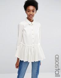 Белая джинсовая рубашка с необработанным краем ASOS TALL - Белый