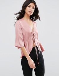 Атласная драпированная блузка с завязкой ASOS - Пыльная роза