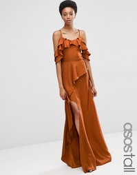 ASOS TALL Cold Shoulder Ruffle Cami Maxi Dress - Красно-бурый