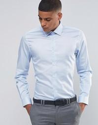 Строгая рубашка скинни в горошек Number Eight Savile Row - Синий