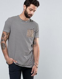 Длинная потертая полосатая футболка с карманом из искусственной замши Asos