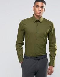 Зауженная рубашка в строгом стиле Number Eight Savile Row - Хаки