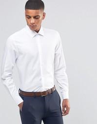 Строгая рубашка скинни в елочку Number Eight Savile Row - Белый