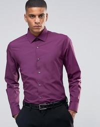 Зауженная рубашка в строгом стиле Number Eight Savile Row - Burgundy