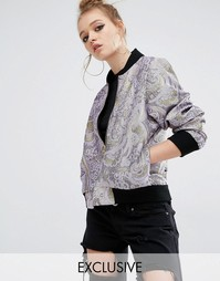 Куртка-пилот из парчи Reclaimed Vintage Luxury - Сиреневый