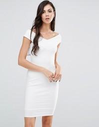 Платье-футляр с широким вырезом Lipstick Boutique - Белый
