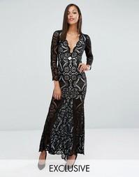 Кружевное платье макси с юбкой годе Love Triangle - Черный
