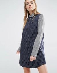 Платье-рубашка в клеточку и крапинку Fred Perry - Темно-синий