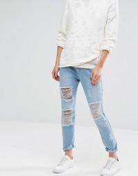 Рваные джинсы в винтажном стиле Liquor and Poker - Синий