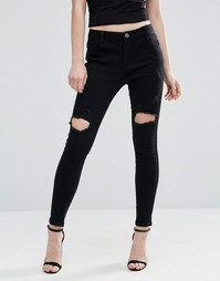 Liquor and Poker Skinny Mid Rise Ripped Jeans - Черный