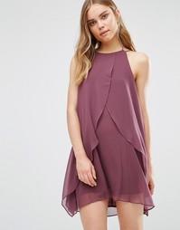 Платье с оборками и халтером BCBG Generation - Пыльно-баклажанный h5q