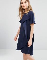 Асимметричное платье с драпировкой BCBG Max Azria - Темно-синий