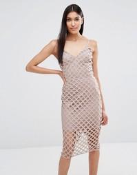 Платье миди с решеткой из лямок Missguided - Mauve
