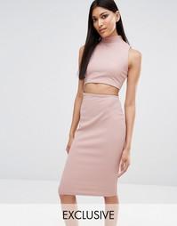 Облегающее платье миди с высоким воротом эксклюзивно для Missguided