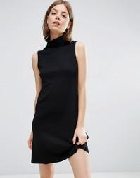 Платье в рубчик без рукавов с отворачивающимся воротом Vila - Черный