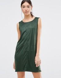 Зеленое цельнокройное платье из искусственной замши Vila