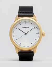 Часы с золотистым циферблатом и черным ремешком Breda Rand - Черный