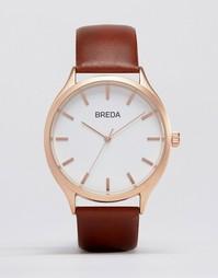 Часы с золотистым циферблатом и коричневым ремешком Breda Meter